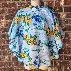 Vintage Royal Hawaiian Pullover Cape Poncho Top